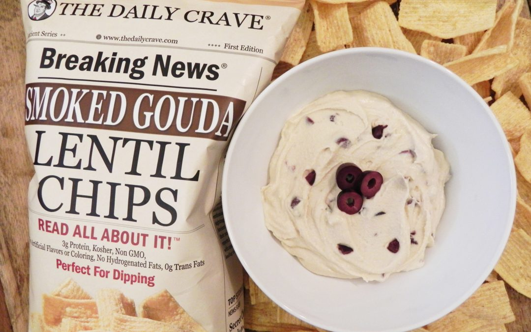 Easy Kalamata Hummus and Smoked Gouda Lentil Chips
